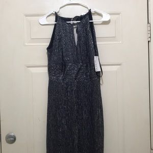 A blue silver maxi dress.